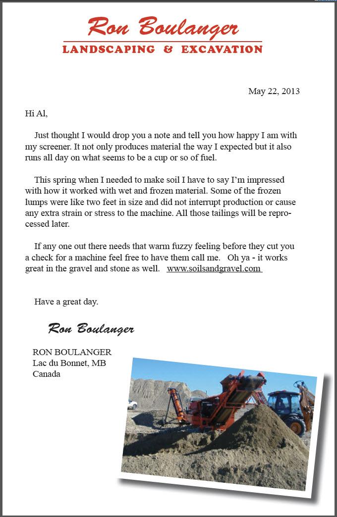 Testimonial from Ron Boulanger