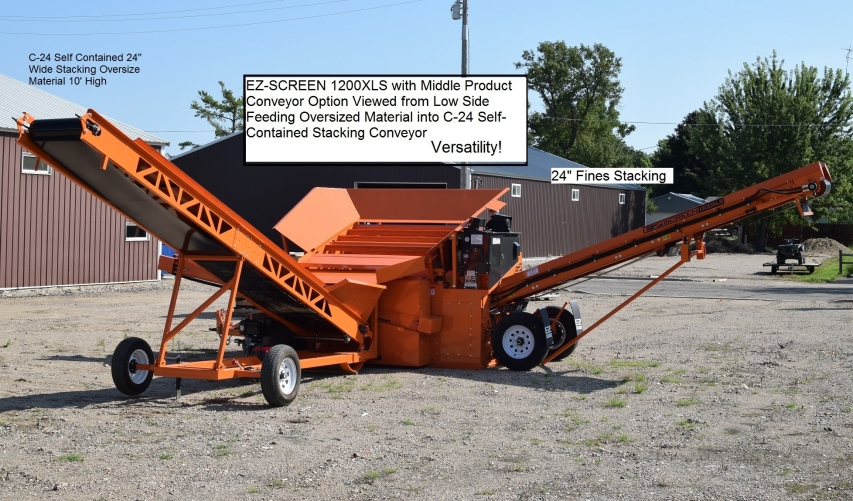 EZ-1200XLS with_Middle Product Conveyor and C-24 Self-Contained Stacking Conveyor