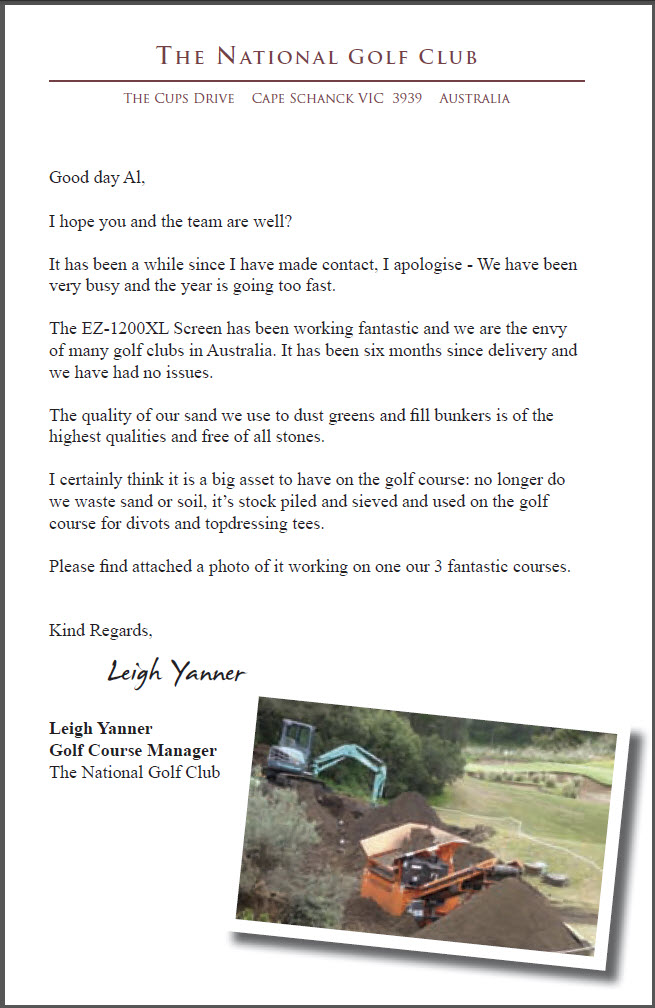 Testimonial from Leigh Yanner, The National Golf Club